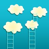 Yellow Clouds with Ladders on Green Background Royalty Free Stock Image