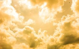 Yellow Cloudy. The yellow color of clouds are feeling of warmth and friendliness Stock Photo