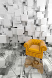 Yellow club armchair on design Stock Image