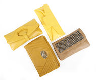 Yellow clutch bags collection Royalty Free Stock Photos