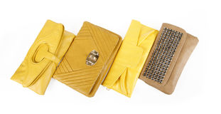 Yellow clutch bags collection Stock Image
