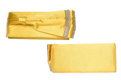 Yellow clutch with bow and diamonds Stock Photography