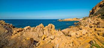 Yellow coast in Sardegna. Costa Paradiso in spring, Sardinia royalty free stock image