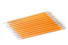 Yellow-coated graphite pencils in a row Stock Photo