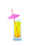 Yellow cocktail glass with straw and umbrella Royalty Free Stock Photography