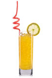 Yellow cocktail with lemon and straw isolated on white background Royalty Free Stock Photography
