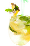 Yellow cocktail with lemon on white background, closeup Stock Photography