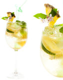 Yellow cocktail with lemon on white background, closeup Stock Photo