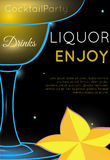 Yellow cocktail in Margarita glass with star fruit close up stock illustration