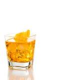 Yellow cocktail with orange slice isolated on white background Stock Image