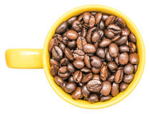 Yellow Coffee Cup With Coffee Beans Stock Photography