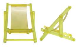 Yellow collapsible camp bed Stock Photos