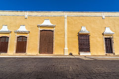 Yellow Colonial Building in Valladolid. Yellow colonial architecture in the center of Valladolid, Mexico Stock Photos