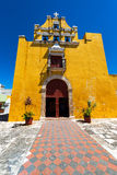 Yellow Colonial Church in Campeche, Mexico stock image