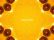 Yellow color card design for Diwali festival with beautiful lamps. Stock Photo