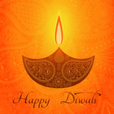 Yellow color card design for Diwali festival with beautiful lamps. Stock Photos