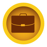 Yellow color circular frame with silhouette briefcase executive icon Royalty Free Stock Photo