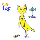 Cute cat. Cute fish. Hand drawn Pet animal vector. Yellow color Cute cat. Cute fish. Hand drawn Pet animal vector illustration Stock Images