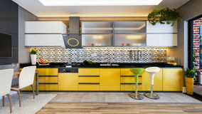 Yellow color kitchen design decor idea Royalty Free Stock Photography