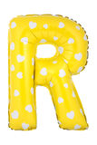 Yellow color letter R made of inflatable balloon Royalty Free Stock Photography