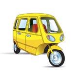 Yellow color modified three wheeler vector illustration