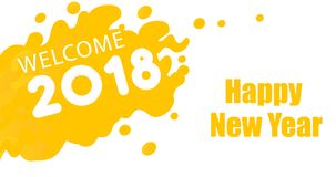 Yellow color new year greeting card. 2018 Stock Images