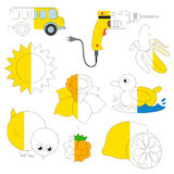 Yellow Color Objects, the big kid game to be colored by example half. Yellow Color Objects, the big collection coloring book to educate preschool kids with easy royalty free illustration
