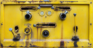 Yellow color old dirty of switch tool water pump on liquid tank Royalty Free Stock Image