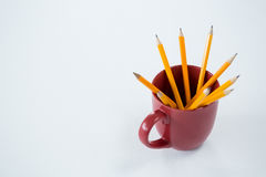 Yellow color pencils kept in mug on white background Royalty Free Stock Image