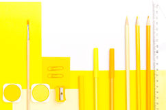 Yellow color school supplies Stock Photography