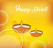 Yellow color vector card design for Diwali festival with beautiful lamps Royalty Free Stock Photography