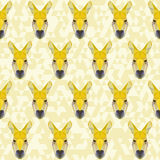 Yellow colored abstract polygonal kangaroo pattern background Royalty Free Stock Photos