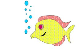 Yellow colored in colorful circles, goggle-eyed fish lets. Air bubbles. Variegated, bright yellow-pink broad angelfish with elongated lips. Vector illustration Royalty Free Stock Photos