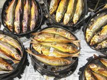 Smoked fish for sale at the wet market in Bangued, Philippines royalty free stock photos