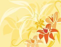 Yellow Colorful Abstract Flower and Line Background  Big stock illustration