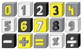 Yellow colour numbers from 0 to 9 with mathematical operations on blocks.  Royalty Free Stock Photo