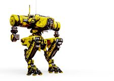 Free Yellow Combat Mech In A White Background In Staic Pose With Copy Space Stock Photos - 181420653