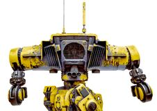 Free Yellow Combat Mech In A White Background Rear View Close Up Royalty Free Stock Photos - 181420668