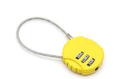 Yellow combination lock Stock Photo