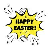 Yellow comic bubble with Happy Easter word on yellow background. Vector illustration royalty free illustration