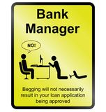 Bank Manager information sign Stock Images
