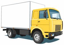 Yellow commercial truck stock photo