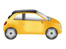 Yellow compact car Royalty Free Stock Images
