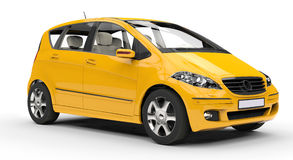 Yellow Compact Car - Side View Stock Image
