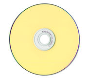 Yellow compact disk isolated on white Royalty Free Stock Photography