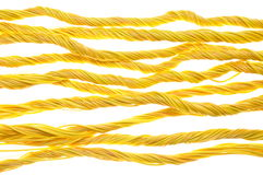 Yellow computer cables isolated on white background Stock Images