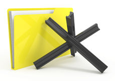 Yellow computer folder with anti-tank barrier Royalty Free Stock Photo