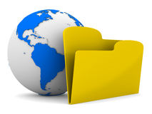 Yellow computer folder and globe on white Royalty Free Stock Photos