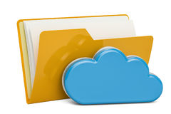 Yellow computer folder icon with computing cloud, 3D rendering. Isolated on white background Stock Photos