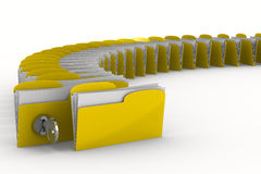 Yellow computer folder with key Stock Images
